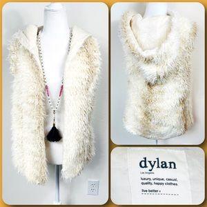 dylan •TRUE GRIT• White & Tan Fur Vest with Hood